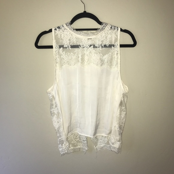 Free People Tops Cream Lace Tank Open Back Size L Poshmark